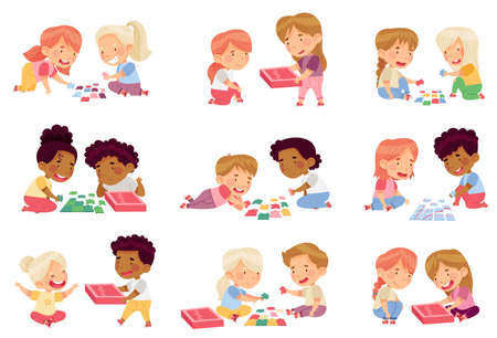 Happy Little Kids Playing Jigsaw Puzzle on the Floor Vector Set