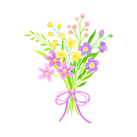 Blooming Flower Bunch Tied with Red Ribbon as Spring Vector Composition Vetores