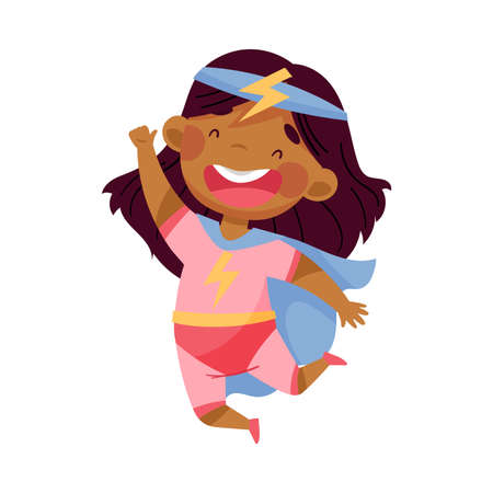 Cheerful African American Girl Wearing Costume of Superhero Jumping High Pretending Having Power for Fighting Crime Vector Illustration