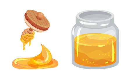 Glass Jar Full with Honey and Honey Dipper with Dripping Fluid Vector Set