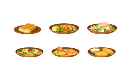 Brazilian Cuisine Dishes with Fruit Salad, Fried Pastry and Fish with Vegetables Vector Set