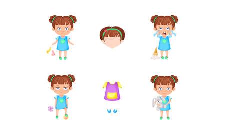 Girl Character Feeling Sadness and Happiness Vector Set