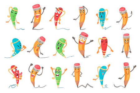Cute Humanized Pen and Pencil Character With Arms And Face Vector Set 矢量图片