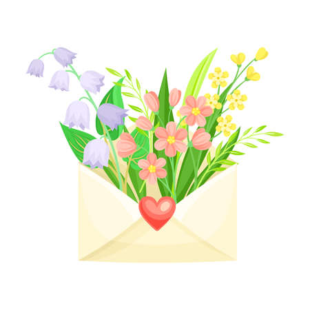 Open Envelope with Blooming Flower Bunch Peeped Out as Spring Vector Composition