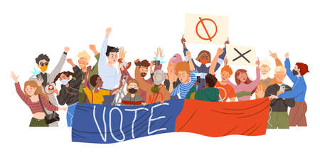 Crowd of Protesting People Characters Holding Banners and Shouting in Megaphone Vector Illustration Vecteurs