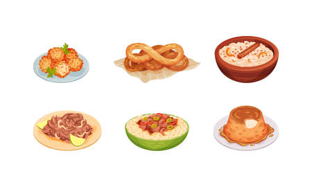 Cuban Food with Flan Pudding and Deep Fried Pastry Balls Vector Set