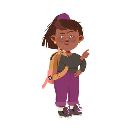 Little Freckled Girl with Backpack Gossiping and Spreading Rumors About Her Agemates Vector Illustration