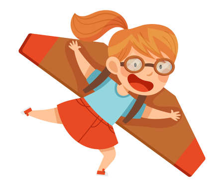 Smiling Girl in Goggles Flying and Piloting with Improvised Fake Aircraft Vector Illustration