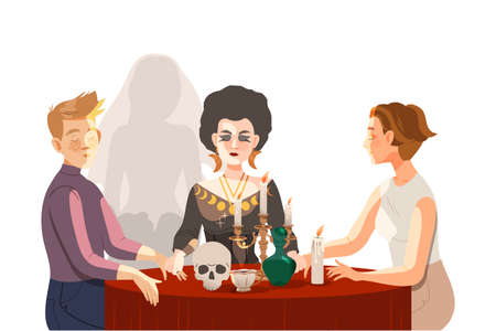 Woman as Fortune Teller or Psychic at Table with Candle and Skull Performing Occult Ritual with Clients Vector Illustration