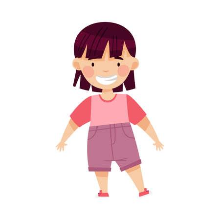 Dark-haired Asian Girl Standing and Smiling Vector Illustration