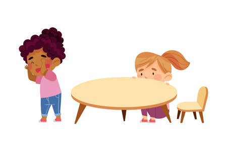 Little Girls Playing Hide and Seek Game in Kindergarden Vector Illustration