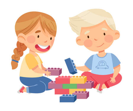 Cute Boy and Girl Sitting on the Floor and Playing Construction Toy in Kindergarden Vector Illustration Vetores