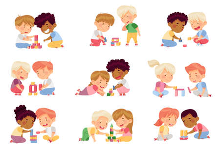 Children Sitting on the Floor in Nursery Playing Toy Blocks Vector Set