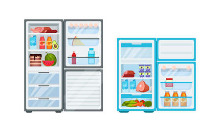 Open Refrigerator or Fridge as Home Appliance for Food Storage with Foodstuff Inside Vector Set Vector Illustratie