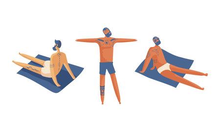 Tattooed Man Standing and Sitting on Beach Towel Sunbathing Vector Set