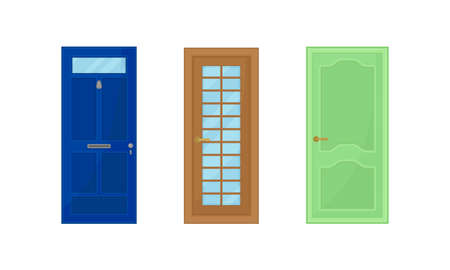 Door as Hinged Movable Barrier Used as Entrance in the Building Vector Set Ilustración de vector