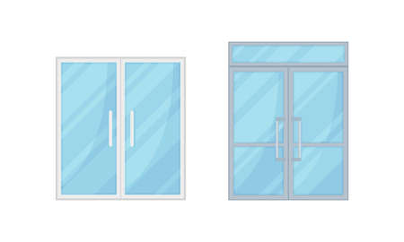 Double Glass Doors as Hinged Movable Barrier Used as Entrance in the Building Vector Set Ilustración de vector