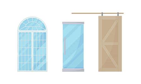 Door as Movable Barrier Used as Entrance in the Building or Enclosure Vector Set Ilustración de vector
