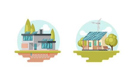 Solar Battery and Wind Turbine Providing Residential House with Electricity Vector Set Vektoros illusztráció