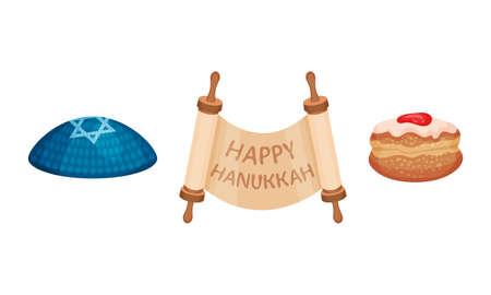 Torah Scroll and Jewish Kippah as Hanukkah Symbols and Objects for Jewish Holiday Celebration Vector Set