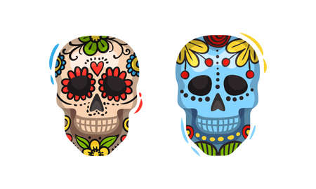 Skull Decorated with Paints as Mexican Symbol and Attribute Vector Set