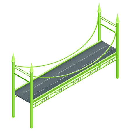 Fixed Suspension Bridge with Deck oated with Asphalt Isometric Vector Illustration