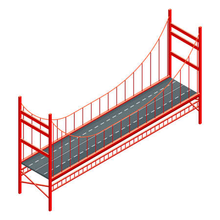 Straight and Fixed Asphalted Bridge with Metal Tie Rods Isometric Vector Illustration