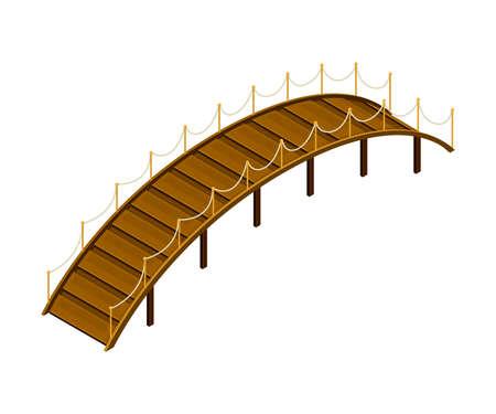 Curved Arch Wooden Bridge with Balustrade Railing Vector Illustration Vektorgrafik