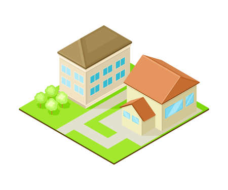 Suburban House with Greenways Isometric Cityscape Vector Illustration