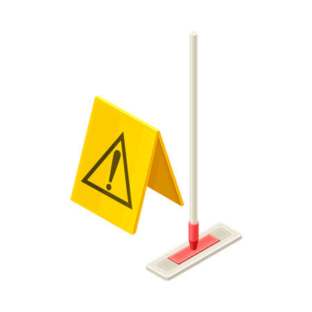 Household Cleaning Equipments with Plastic Mop and Yellow Warning Sign Isometric Vector Composition