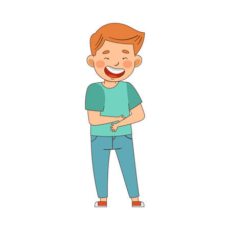 Emoji Boy Laughing Out Loud Holding His Stomach Vector Illustration