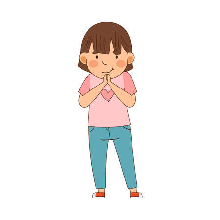 Emoji Girl with Short Hair Holding Hands Together in Anticipation Vector Illustration