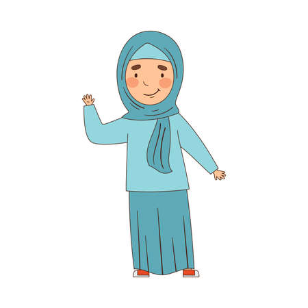Muslim Emoji Girl Waving Hand as Friendly Greeting Vector Illustration