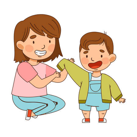 Sister Dressing Her Little Brother as Family Relations Vector Illustration