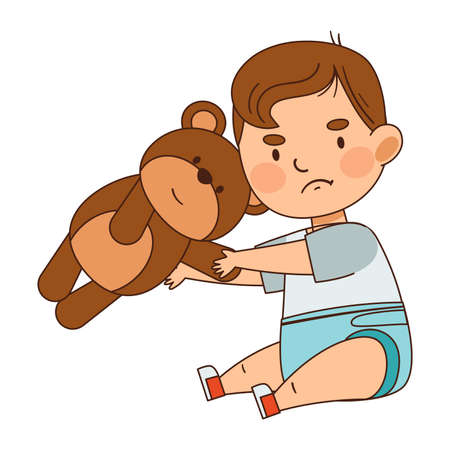 Cute Infant Boy in Diaper Sitting on the Floor with Teddy Bear Vector Illustration