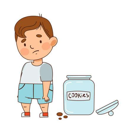 Cute Infant Boy with Sad Face Feeling Guilty Vector Illustration Vektorgrafik