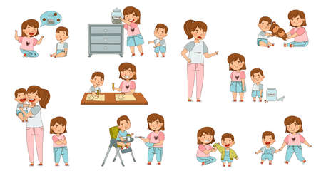 Family Relations with Siblings Playing nd Warring with Each Other Vector Set Ilustración de vector