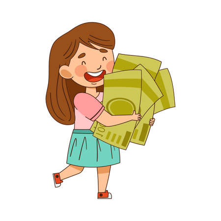 Little Girl Carrying Pile of Dollar Banknotes Vector Illustration