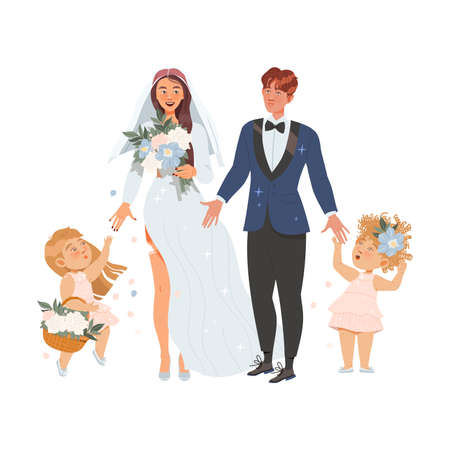Affectionate Newlyweds Couple as Just Married Male and Female Walking Holding Bouquet with Cute Kids Accompanying Them Vector Illustration