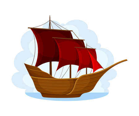 Wooden Pirate Ship or Vessel with Red Sail Navigating Upon Water Vector Illustration. Picaroon for Conducting Piracy or Coastal Robbery Upon the Sea Concept