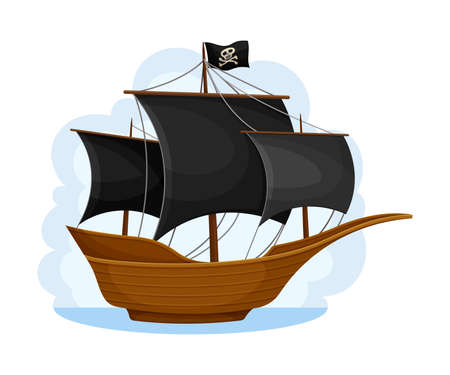 Pirate Ship with Black Sails and Square Rigged Mast Navigating Upon Water Vector Illustration