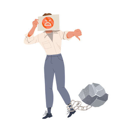 Male Covering His Face with Smiley Drawn on Paper Having His Leg Chained with Heavy Stone as Stressed out Office Employee Feeling Deadline Vector Illustration Vector Illustratie