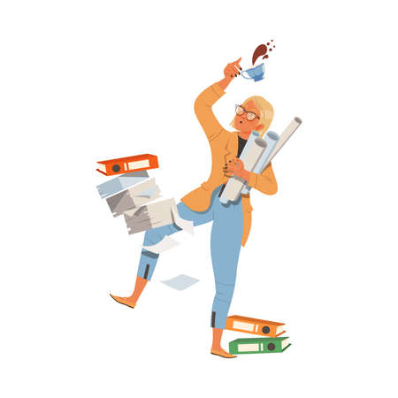 Blond Female Having Folders and Paper Documents Dropped out of Hands as Stressed out Office Employee Vector Illustration