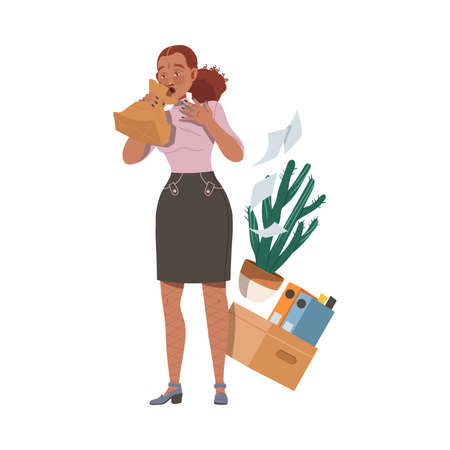 Female Vomiting in Craft Paper Bag as Stressed out Office Employee Feeling Deadline Vector Illustration
