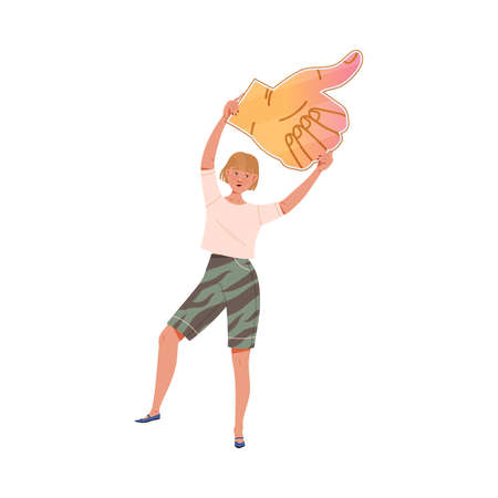 Young Woman with Raised Up Hands Holding Thumb Up Sign as Notification of Approval Vector Illustration