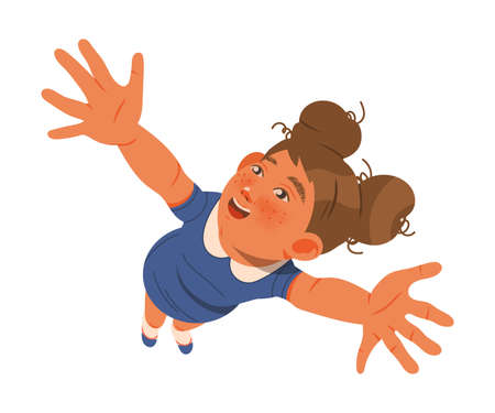 Smiling Girl Outstretching Her Arms Showing Positive Hand Gesture Feeling Excitement Vector Illustration