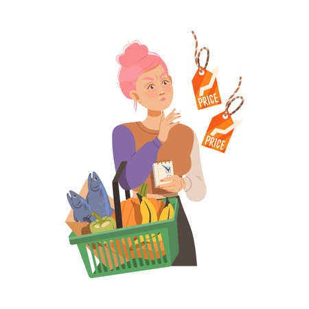 Female with Shopping Basket Looking at Price Tag in Supermarket Frowning with Disapproval Vector Illustration