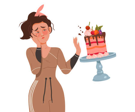 Female Looking at Falling Down Cake Feeling Sadness and Disappointment Vector Illustration