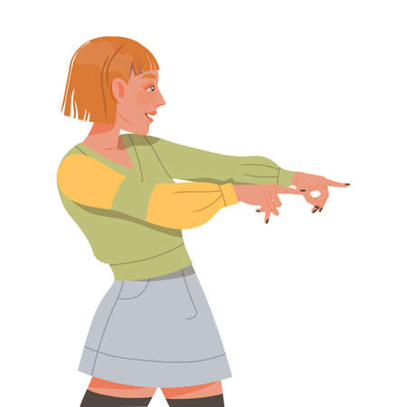 Short-haired Female Pointing Fingers Showing Positive Gesture Feeling Happiness and Excitement Vector Illustration