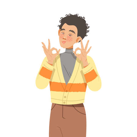 Freckled Man Showing OK Gesture with His Hands Feeling Happiness and Excitement Vector Illustration